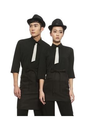YU30-7BB 타이 on 블랙 스판 칠부셔츠 (공용)