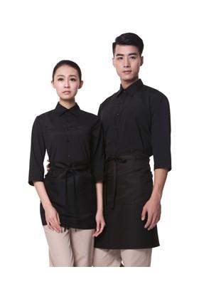 YU04-7BB 검정 스판 칠부셔츠(공용)