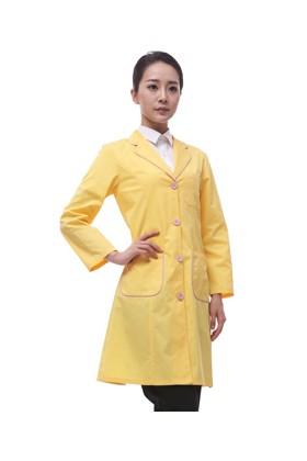 LW04YY 여성전용 옐로우 핑크파이핑 오픈가운(면혼방30수)