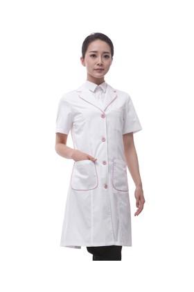 LW03-5DP 여성전용 백색 핑크파이핑 반팔오픈가운 (면혼방30수)