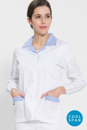 긴팔 TC32수 쿨스판 위생복 셔츠(여성용) /스카이블루체크(FS-117)
