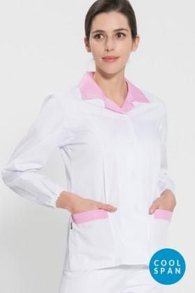 긴팔 TC32수 쿨스판 위생복 셔츠(여성용) /핑크체크(FS-115)