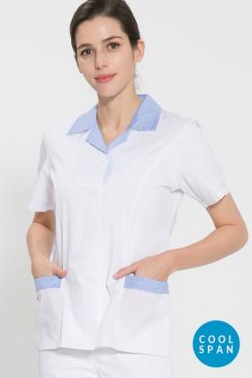 반팔 TC45수 쿨스판 위생복 셔츠(여성용) /스카이블루체크(FS-118)